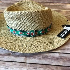 H&M straw hat with ethnic pattern band